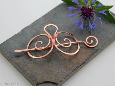Double Spiral Hair Barrette - Smooth Copper - Hair clip