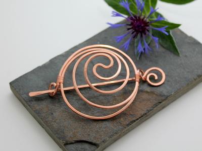 Yin Yang Spiral Hair Barrette Or Bun Cage - Copper - Hair clip