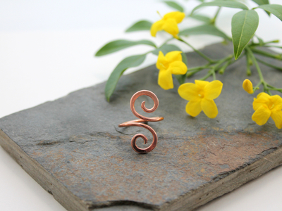 Single Wrap Double Spiral copper Adjustable ring - size 8 to 10 (UK Q to T1/2)