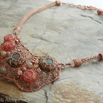 Patella Rustica Necklace - Labradorite, Rhodonite and copper