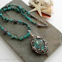Poseidon - Under the Sea - Turquoise and Turtles silver necklace