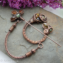 Celtic Brooch - Copper and Tourmaline