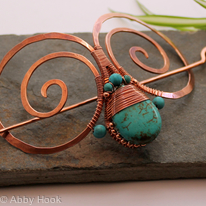 Embellished Double Spiral Hair Barrette - Copper and Turquoise