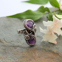 Double Stone Ring - Woven Sterling silver wire and Amethyst