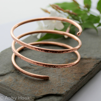 Triple wrap Copper Bangle, Bracelet, Cuff