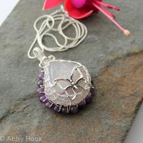 Purple Druzy Agate Pendant - Viking Knit Bezel with Butterfly In Sterling Silver