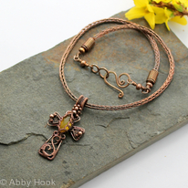 Celtic Cross - Copper wirework cross with Yellow Chalcedony on a Viking knit chain