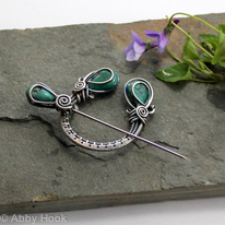Reserved for Dan - Penannular Brooch - Woven Sterling silver and genuine Turquoise