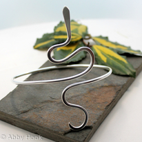 Asymetrical Snake Sterling Silver Armlet, Arm bracelet, Cuff, upper arm cuff