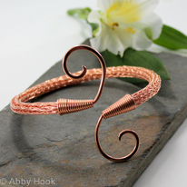 Double spiral Viking Knit Armlet - Copper, Arm bracelet, Cuff