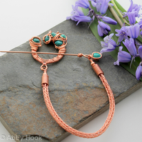Celtic Brooch - Copper and Turquoise - asymmetrical pseudo-penannular brooch