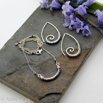Sterling silver and Titanium coated spinal earrings and necklace
