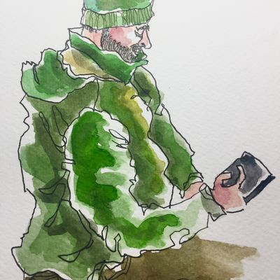 Man in green
