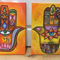 Pair of Hamsa Art