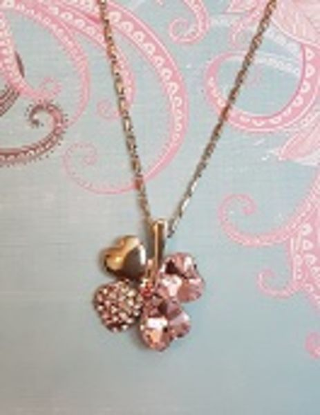 No 35 Sterling Silver Pink Four Leaf Clover Necklace
