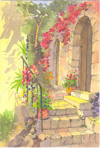 Watercolour painting of Eze, S France