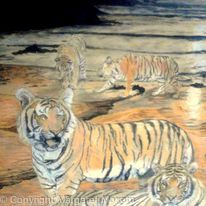 Tigers on a beach at sunset