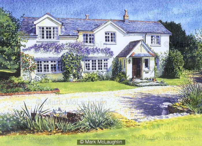 Summer cottage, Isle of Wight - watercolour: www.markmclaughlinartist.co.uk/watercolour-house-portrait-paintings...