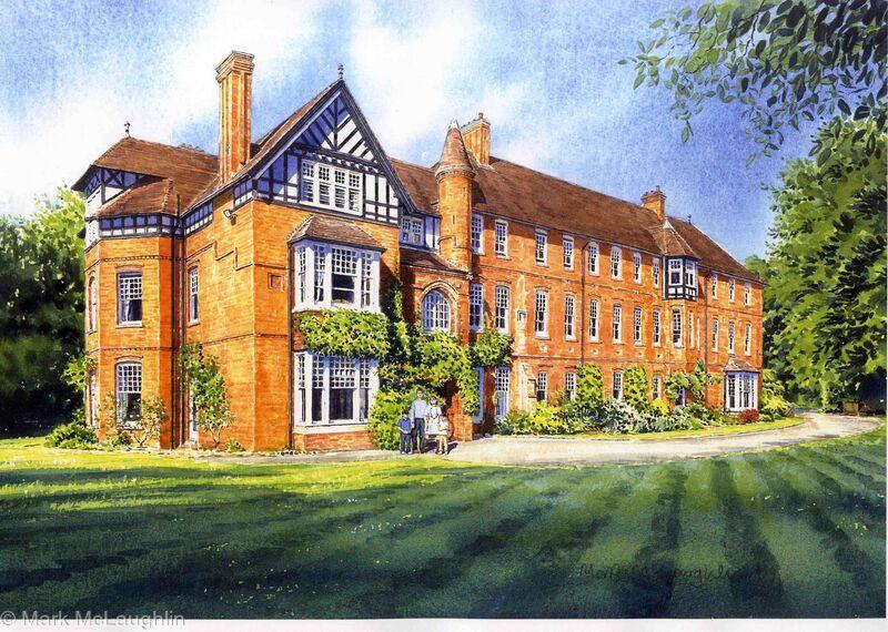 Benson house wellington college berkshire watercolour for Berkshire house