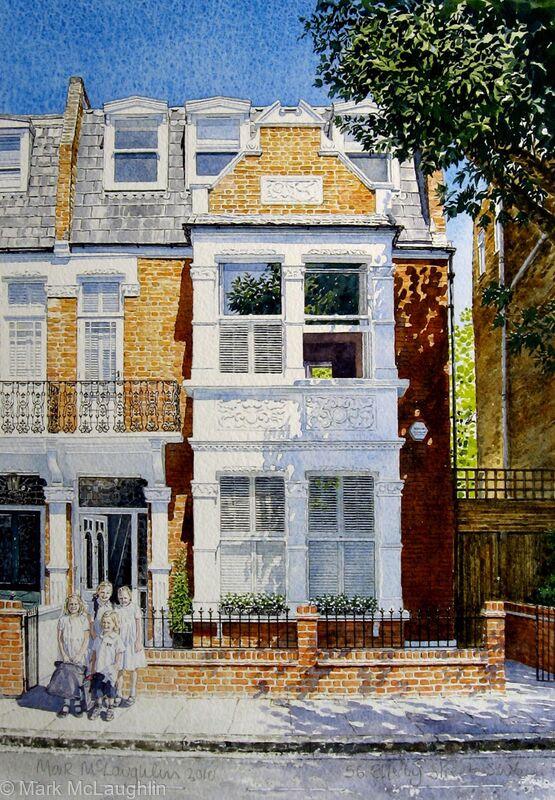 house portrait sw6 watercolour