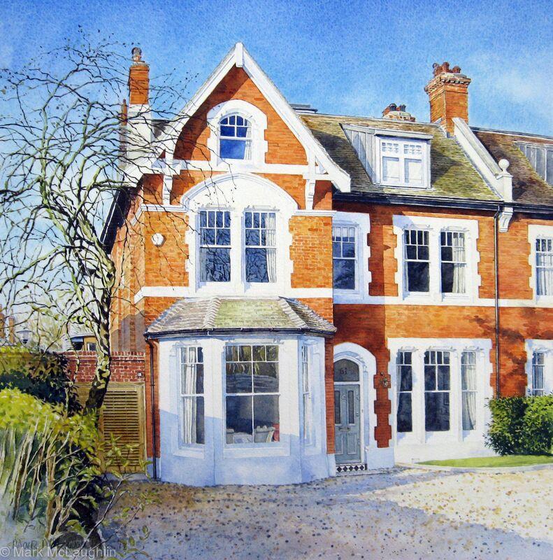 house portrait alleyn park west dulwich watercolour