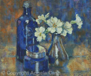 Blue Bottle with Primroses