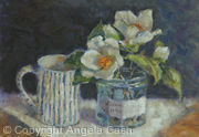Gardenias with Stripey Mug