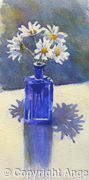 Daisies in a Blue Bottle