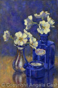Primroses with Blue Glass
