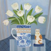 Tulips in Willow Pattern Jug