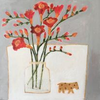 Freesias and Little Dog