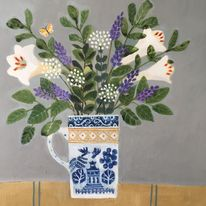 Flowers in a Willow pattern jug