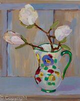 Magnolia flowers in majolica jug