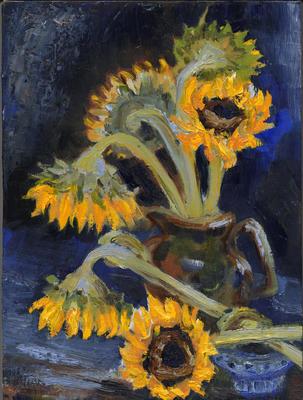 Sunflowers in Brown Jug