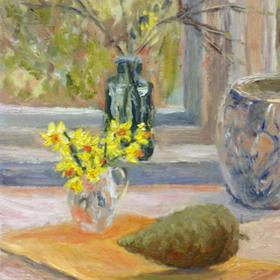 Spring still life with pine cone