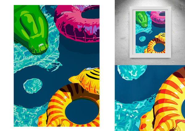 Lilos on Swimming Pool