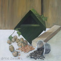 Bird box, nuts, seeds and wood