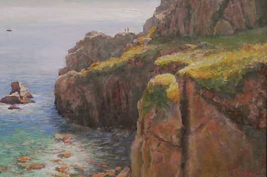 cliffs cornwall  boat at sea