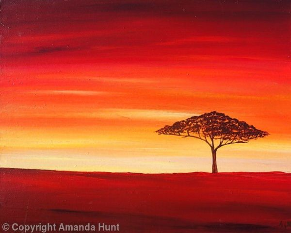 African Orange Sunset - Acrylic on a deep edge canvas