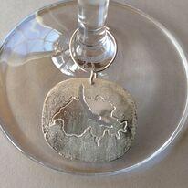 set of four wine glass charms, Lake Garda