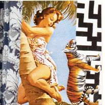 palm tree girl with tiger ltd ed print