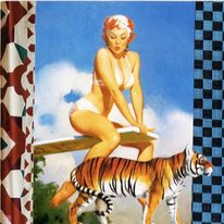 blue checkerboard tiger girl - ltd ed print