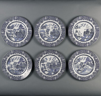 Willow pattern reinterpreted set of six