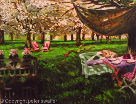 apple blossom with deck chairs