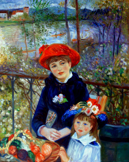 two sisters on the terrace-after Renoir