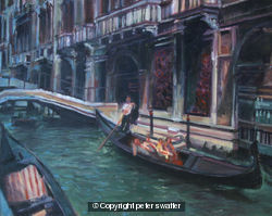 backstreet canal with gondola - venice