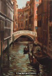 light and shade canal with gondolas - venice