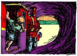 the train ran down the tunnel