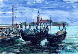 gondolas and jetty - venice