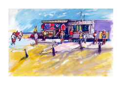 Seafront Stalls - Pen  Wash